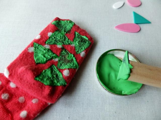 Socken mit Stempeldreieck