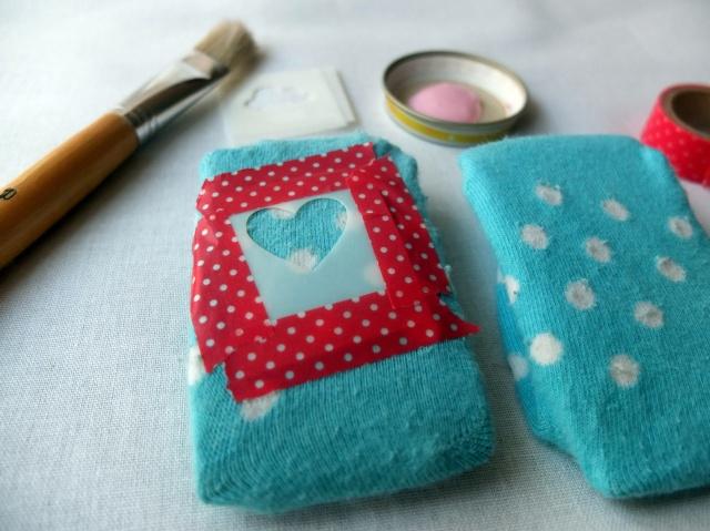 Socken mit Schablone Herz